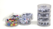 Chenillekraft Stacking Jar Wiggle Eyes - 400 Piece[s] - 0.7cm , 1cm , 1.2cm , 1.5cm , 2cm - Assorted