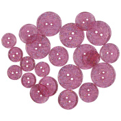 Favourite Findings Glitter Buttons-Pink Twinkle Transparent 482347 Notions - In Network