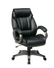 Office Star ECH30627-EC3 Executive Eco Leather Chair with Padded Arms and Coated Base- Titanium-Black
