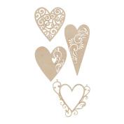 Kaisercraft 462079 Wood Flourishes 4-Pkg-Fancy Hearts