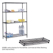 Safco 5242BL Black Commercial Extra Shelf Pack- 48 x 18''