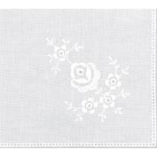 Cotton Handkerchief 23cm - 1.3cm x 24cm -Roses White