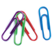 Vinyl Paper Clips 2.9cm 40/Pkg-Assorted Metallic Colours