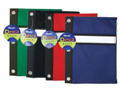 Bazic 801-24 Assorted Colour 3-Ring Pencil Pouch- Pack of 24