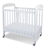 Foundations 1732120 Foundations Serenity Compact Fixed-Side Crib White with Adjustable Mattress Board Clearview Ends
