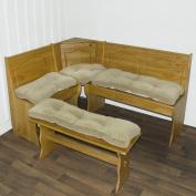 Greendale Home Fashions Cherokee Solid Microfiber 4-Piece Nook Cushion Set, Khaki