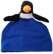 BearHands FHS-PNG-CBL S Hat Fleece Penguin on Cobalt Blue - Small