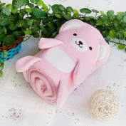 Blancho Bedding TB-BLK015-PINK-42.5by59.1 Happy Bear - Pink Embroidered Applique Coral Fleece Baby Throw Blanket