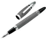 Aeropen International CM-4210F Fountain Pen Satin Chrome Checker Design with Chrome Part