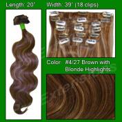 Brybelly Holdings PRBD-20-427 No. 4-27 Dark Brown w Golden Blonde Highlights - 50cm . Body Wave