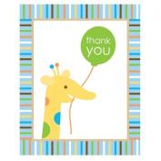 Creative Converting 205206 Sweet Safari Blue 1st Birthday Thank-You Notes