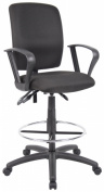 Boss B1637-Bk Multi-Function Fabric Drafting Stool With Loop Arms
