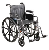 Drive Medical STD20ECDDAHD-SF Sentra EC Heavy Duty Wheelchair with Various Arm Styles and Front Rigging Options- Black