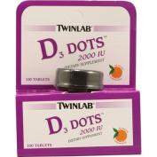 Twinlab, D3 Dots, 2000 IU, Tangerine Flavour, 100 Tablets