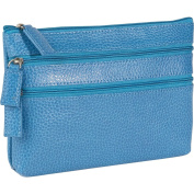 Budd Leather 291675-11 Pebble Grained Leather Triple Zip Cosmetic Case - Blue