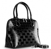 Bravo Handbags H21-2012BL Reora Mother of Pearl Jigsaw Tote - Black