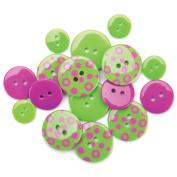 Favourite Findings Buttons-Lime Spots 15/Pkg
