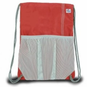 Sailor Bags 315-RG Drawstring Bag True Red with Grey Trim