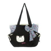 Blancho Bedding A08-BLACK Sweet Cat Canvas Shoulder Bag / Swingpack / Travel Bag