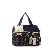 Blancho Bedding A09-2-PURPLE Cat Catch the Fish Canvas Shoulder Bag / Swingpack / Travel Bag