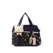 Blancho Bedding A09-2-PURPLE Cat Catch the Fish Canvas Shoulder Bag / Swingpack / Travel Bag