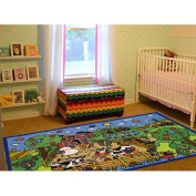 La Rug FT-151 39 in. x 58 in. Fun Time Happy Farm Kids Rug - Multi Colored