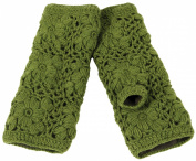 Nirvanna Designs MT13F Flower Crochet Handwarmers with Fleece - Green