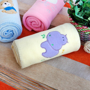 Blancho Bedding TB-BLK011-HIPPO-29.5by39.4 Purple Hippo - Yellow Embroidered Applique Coral Fleece Baby Throw Blanket