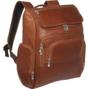 Piel Leather 2834 Multi-Pocket Laptop Backpack - Saddle