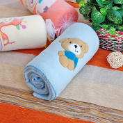 Blancho Bedding TB-BLK012-BEAR-29.5by39.4 Brown Bear - Blue Embroidered Applique Coral Fleece Baby Throw Blanket