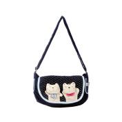 Blancho Bedding K242-PURPLE Lazy Cat Canvas Shoulder Bag / Swingpack / Travel Bag