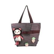 Blancho Bedding K124-PURPLE Rabbit and Cherry Canvas Shoulder Tote Bag / Shopper Bag