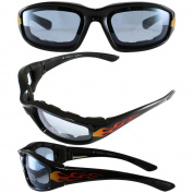 Birdz ORIOLEFLBL Birdz Oriole Flame Design Motorcycle Glasses with Blue Shatterproof Anti-Fog Polycarbonate Lenses and Wind Blocking Foam