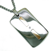 14K Gold and Stainless Steel Mens Diamond Dog Tag Necklace