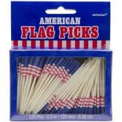 AMSCAN 330882 Flag Picks 6.4cm . 144-Pkg-Patriotic