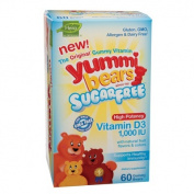 Hero Nutritional Products 1115567 Yummi Bears Sugar Free Vitamin D3 Fruit Flavors 1000 IU 60 Gummy Bears - 60 Pack