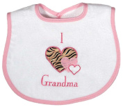 Dee Givens & Co-Raindrops A74535 I love Grandma Appliqued Small Bib - Pink