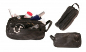 Bond Street L79003BLK Patch Leather Design Travel Shaving Toiletrie Case