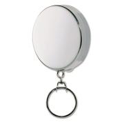 STEELMASTER Retractable Key Reel with 60cm Retractable Chain, Silver