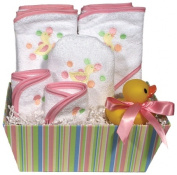 Dee Givens & Co-Raindrops 83500 Pink Duck Bubbles n Stripes Towel Gift Set - Pink - 71cm . x 86cm .