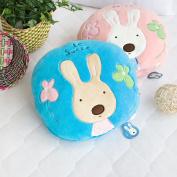Blancho Bedding HT-CB001-BLUE-25.2by37 Sugar Rabbit - Round Blue Blanket Pillow Cushion / Travel Pillow Blanket