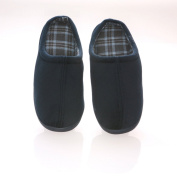 Living Healthy Products VVCC-1112-blue 11-12 Vamp with Checked Cotton Fabric Lining Male Slippers
