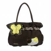 Blancho Bedding A07-COFFEE Cat Loves Butterfly Canvas Shoulder Bag / Swingpack / Travel Bag