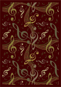 Joy Carpets 1573B-01 Virtuoso Burgundy 3 ft.10 in. x 5 ft.4 in. 100 Pct. STAINMASTER Nylon Machine Tufted- Cut Pile Whimsy Rug