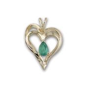 14K Yellow Gold Emerald Heart Pendant