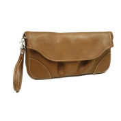 Piel Leather 2885 Clutch-Large Wristlet - Saddle