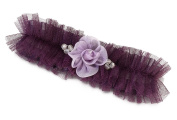 Lillian Rose Tulle Garter with Flower - Plum LG190PL