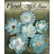 Petaloo 488466 Floral Embellishments Mixed Blooms 6-Pkg-Blue