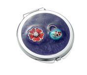 Aeropen International M-48 Purple Round Iron Compact Mirror with Purse Ornament and Epoxy Top