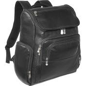 Piel Leather 2834-BLK Multi-Pocket Laptop Backpack - Black